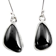 9.86cts natural black shungite 925 sterling silver dangle earrings r14541