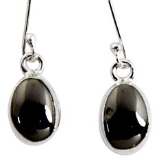 7.13cts natural black shungite 925 sterling silver dangle earrings r14545