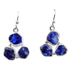 15.85cts natural blue sapphire rough 925 sterling silver dangle earrings r16881