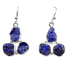 17.20cts natural blue sapphire rough 925 sterling silver dangle earrings r16882