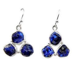 16.24cts natural blue sapphire rough 925 sterling silver dangle earrings r16883