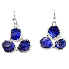 925 sterling silver 17.59cts natural blue sapphire rough dangle earrings r16884