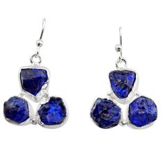 18.15cts natural blue sapphire rough 925 sterling silver dangle earrings r16885
