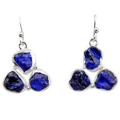 17.20cts natural blue sapphire rough 925 sterling silver dangle earrings r16886