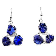 16.67cts natural blue sapphire rough 925 sterling silver dangle earrings r16887