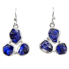 17.18cts natural blue sapphire rough 925 sterling silver dangle earrings r16888