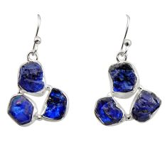 925 sterling silver 17.66cts natural blue sapphire rough dangle earrings r16889