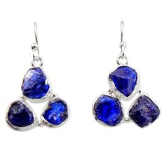 17.69cts natural blue sapphire rough 925 sterling silver dangle earrings r16890