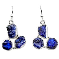 16.15cts natural blue sapphire rough 925 sterling silver dangle earrings r16891
