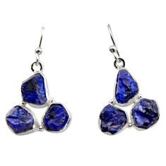 18.47cts natural blue sapphire rough 925 sterling silver dangle earrings r16892