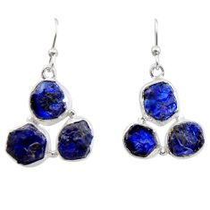 925 sterling silver 18.42cts natural blue sapphire rough dangle earrings r16893