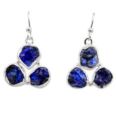 16.70cts natural blue sapphire rough 925 sterling silver dangle earrings r16894