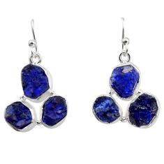 18.15cts natural blue sapphire rough 925 sterling silver dangle earrings r16895