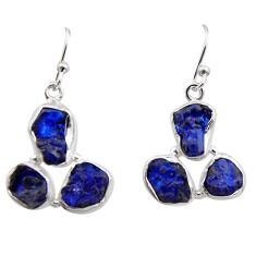 16.17cts natural blue sapphire rough 925 sterling silver dangle earrings r16896
