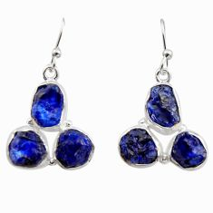 16.70cts natural blue sapphire rough 925 sterling silver dangle earrings r16897