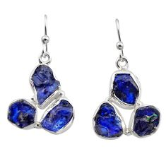 925 sterling silver 16.70cts natural blue sapphire rough dangle earrings r16898