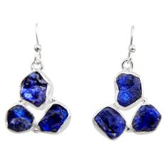 17.20cts natural blue sapphire rough 925 sterling silver dangle earrings r16899