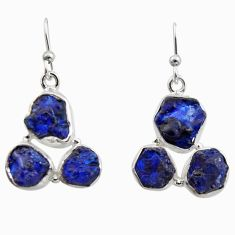 925 sterling silver 16.70cts natural blue sapphire rough dangle earrings r16900