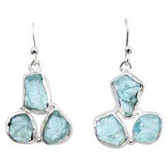 17.20cts natural aqua aquamarine rough 925 silver dangle earrings r16901