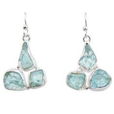 17.69cts natural aqua aquamarine rough 925 silver dangle earrings r16905