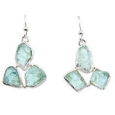 18.47cts natural aqua aquamarine rough 925 silver dangle earrings r16912
