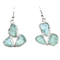 19.48cts natural aqua aquamarine rough 925 silver dangle earrings r16913