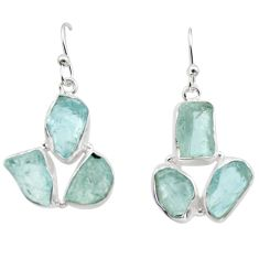 18.15cts natural aqua aquamarine rough 925 silver dangle earrings r16918