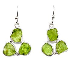 16.17cts natural green peridot rough 925 sterling silver dangle earrings r16922