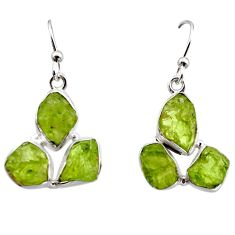 16.74cts natural green peridot rough 925 sterling silver dangle earrings r16923