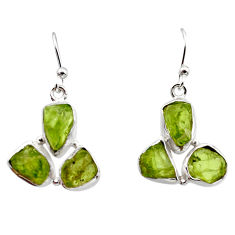 925 sterling silver 16.17cts natural green peridot rough dangle earrings r16924