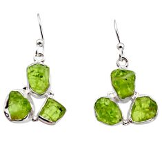14.90cts natural green peridot rough 925 sterling silver dangle earrings r16925