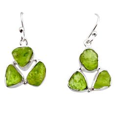 15.85cts natural green peridot rough 925 sterling silver dangle earrings r16926