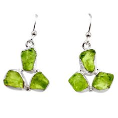 13.87cts natural green peridot rough 925 sterling silver dangle earrings r16928