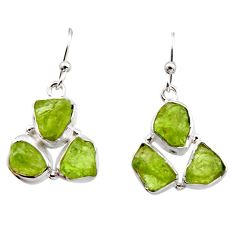 925 sterling silver 15.85cts natural green peridot rough dangle earrings r16931