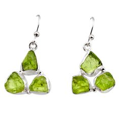 14.33cts natural green peridot rough 925 sterling silver dangle earrings r16933