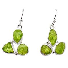 15.80cts natural green peridot rough 925 sterling silver dangle earrings r16934