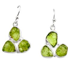 17.20cts natural green peridot rough 925 sterling silver dangle earrings r16938