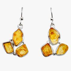 15.39cts yellow citrine rough 925 sterling silver dangle earrings jewelry r16941