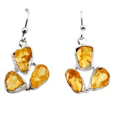 15.34cts yellow citrine rough 925 sterling silver dangle earrings jewelry r16942