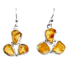 925 sterling silver 15.85cts yellow citrine rough dangle earrings jewelry r16944