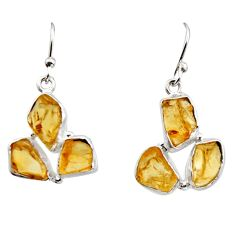 15.85cts yellow citrine rough 925 sterling silver dangle earrings jewelry r16947