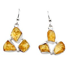 14.90cts yellow citrine rough 925 sterling silver dangle earrings jewelry r16949