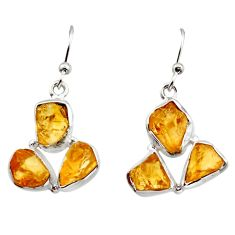14.90cts yellow citrine rough 925 sterling silver dangle earrings jewelry r16950
