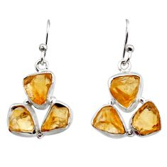 16.17cts yellow citrine rough 925 sterling silver dangle earrings jewelry r16951