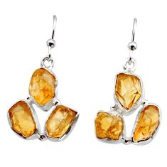 15.39cts yellow citrine rough 925 sterling silver dangle earrings jewelry r16952