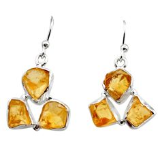925 sterling silver 14.79cts yellow citrine rough dangle earrings jewelry r16953