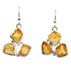15.39cts yellow citrine rough 925 sterling silver dangle earrings jewelry r16954