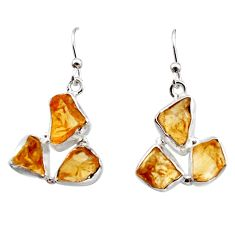 15.34cts yellow citrine rough 925 sterling silver dangle earrings jewelry r16955