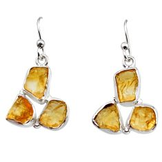 925 sterling silver 14.33cts yellow citrine rough dangle earrings jewelry r16957