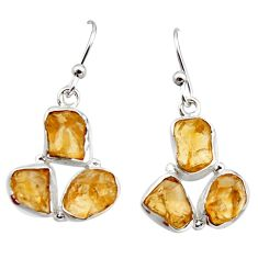 14.42cts yellow citrine rough 925 sterling silver dangle earrings jewelry r16958
